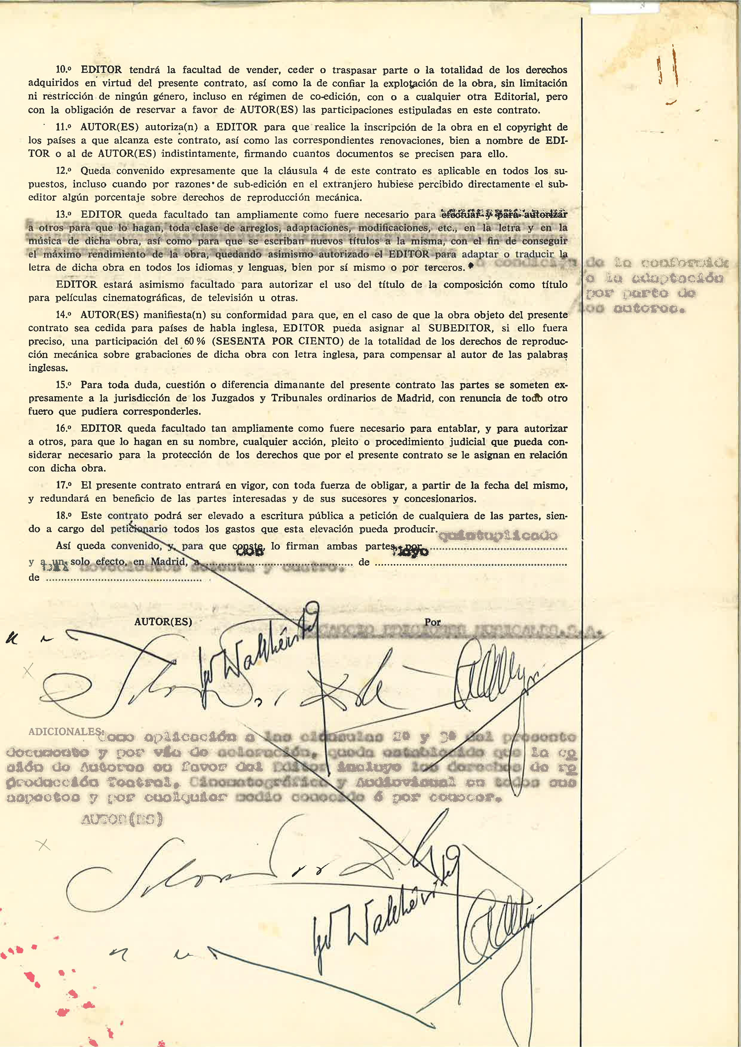 """Last page of the contract between Salvador Dali, Igor Wakhevitch, Vasquez Montalban with their signature as co-authors of """"Etre Dieu"""""""