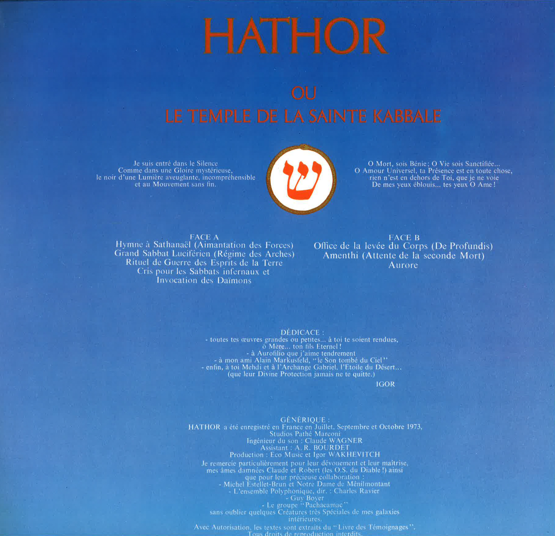 Inner cover of the album Hathor (right side) all titles played and composed by Igor Wakhevitch (Atlantic Records)