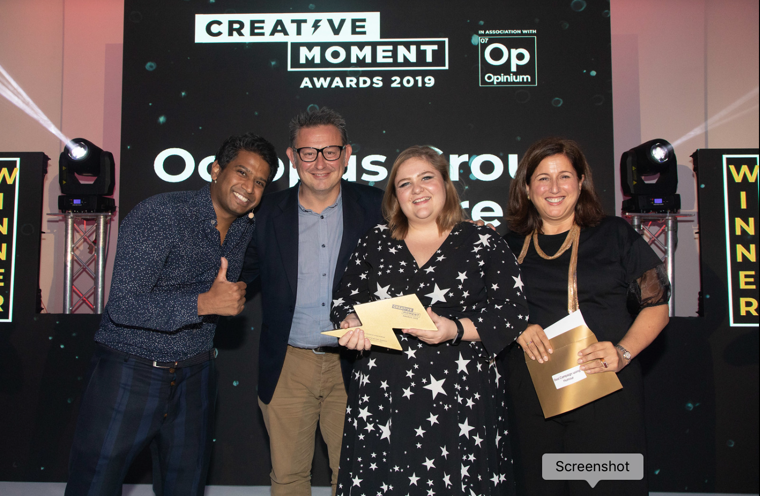 Octopus winning the Best Campaign using Humour for Tudder