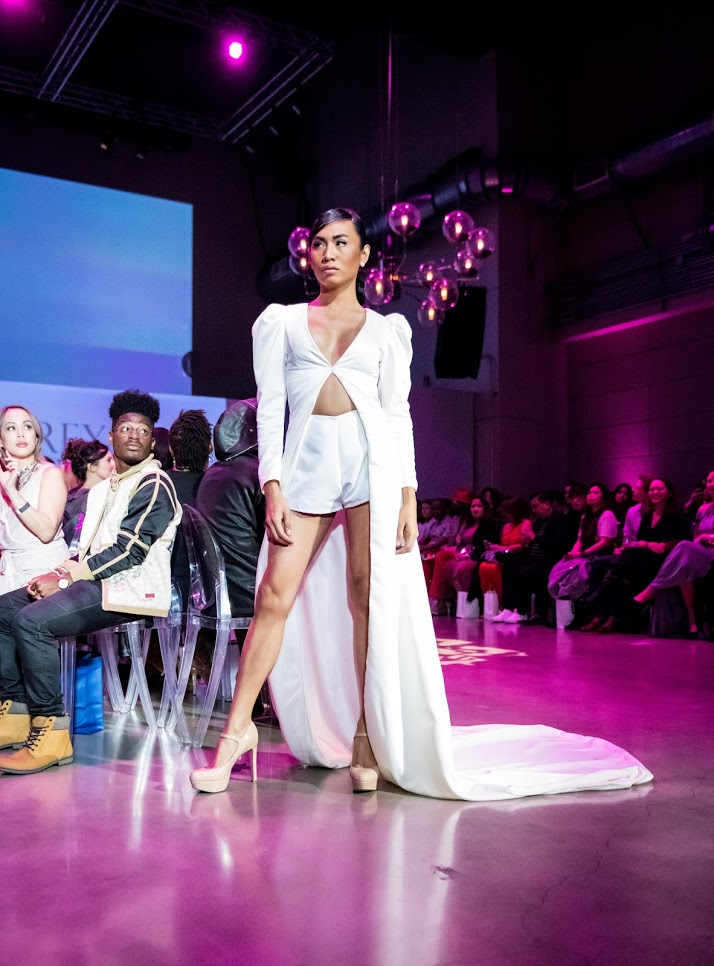 Transgender model in design by Pia Gladys Perey. Photo credit:  LAFW .