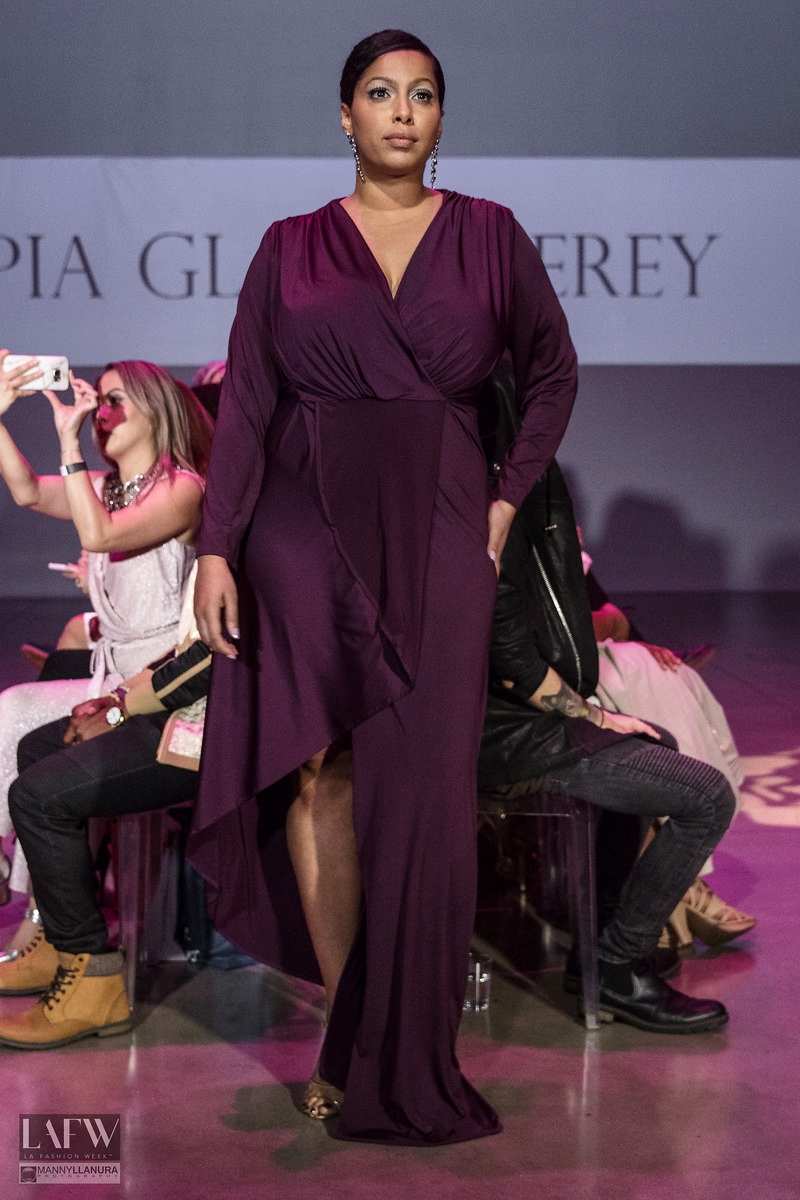 Plus size model in design by Pia Gladys Perey. Photo credit:  LAFW.