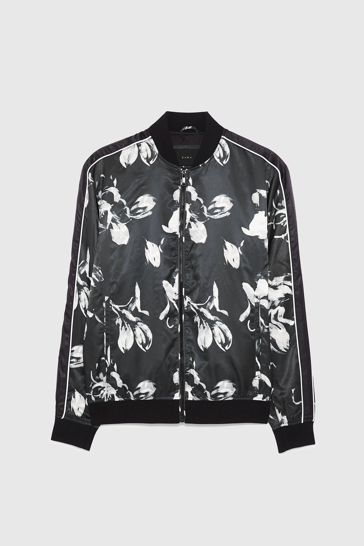 Zara Black and White Floral Bomber.jpg