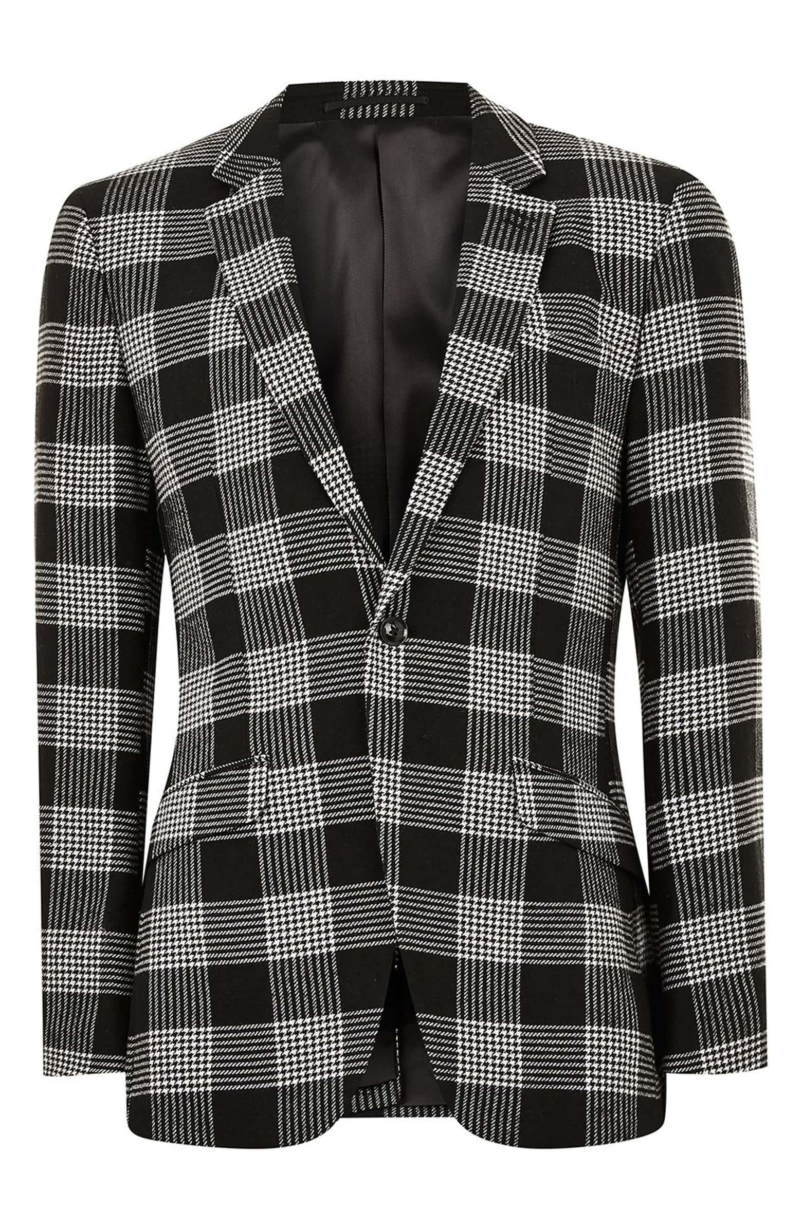 Topman Black and White Plaid Blazer.jpeg