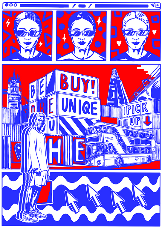 """Buy Unique"" Elena gumeniuk - Elena has envisaged a world where the future London high-street is a vast landscape of containers, with the consumer styled in a similar mass produced way, leading to the loss of identity and the uniqueness of a person. Elena took inspiration for this piece from web interfaces, to give the feeling of a high-street that's morphed into the structure of the online shopping experience in real life."