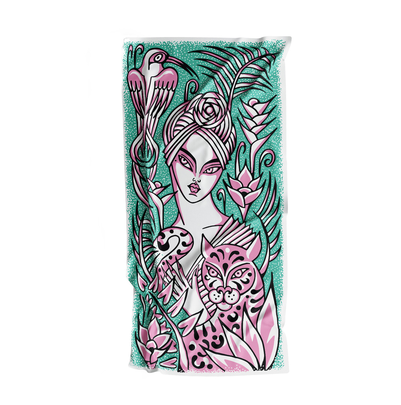 """She's the one with fire in her heart, a wild look in her eyes and scarves for hair.   """"I wanted the turbanista to be calm but powerful, surrounded by jungle animals. I hope this jungle beauty makes you feel fierce."""" – Hannah Truran, aka Sweetmundane"""