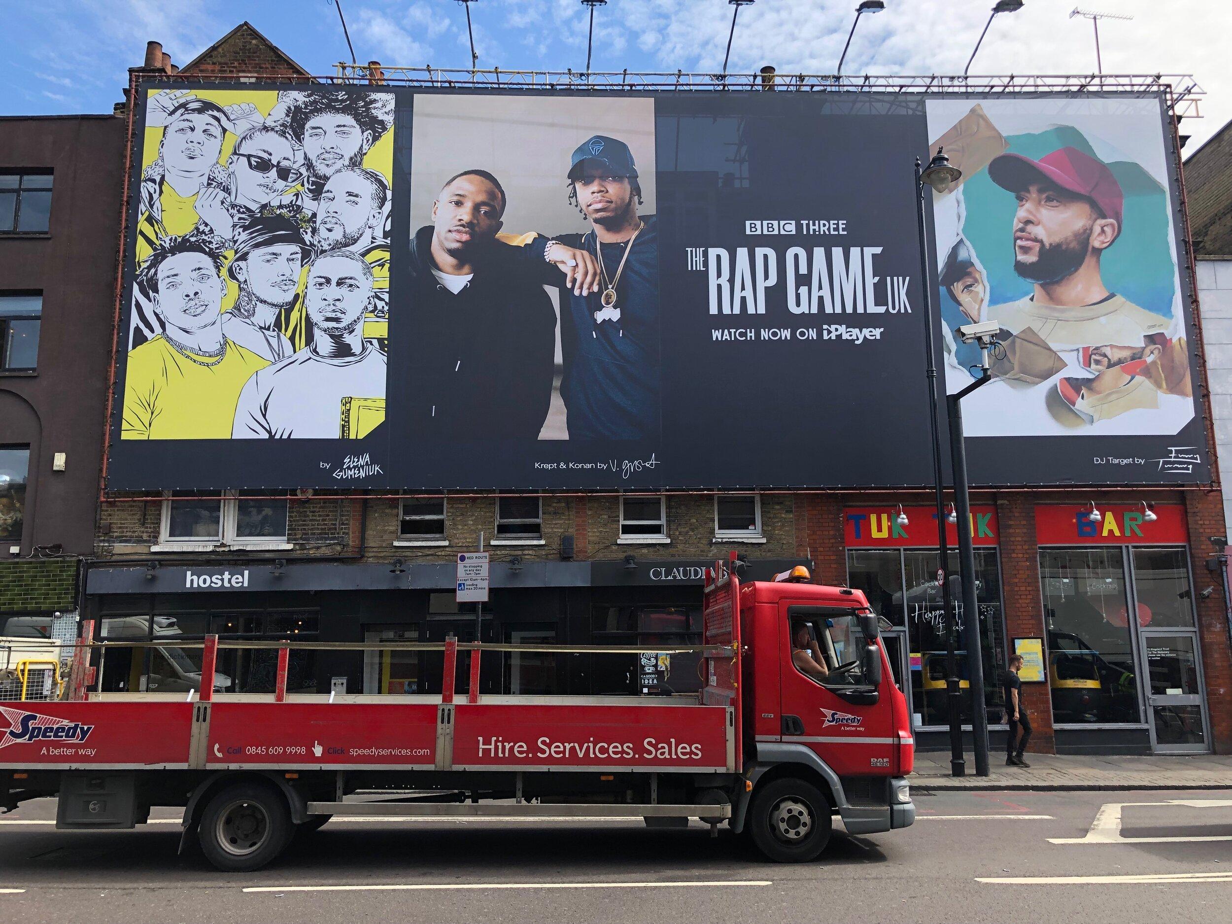 Elena Gumeniuk for The Rap Game UK - Advertising featured on Kingsland Road, London, UK.