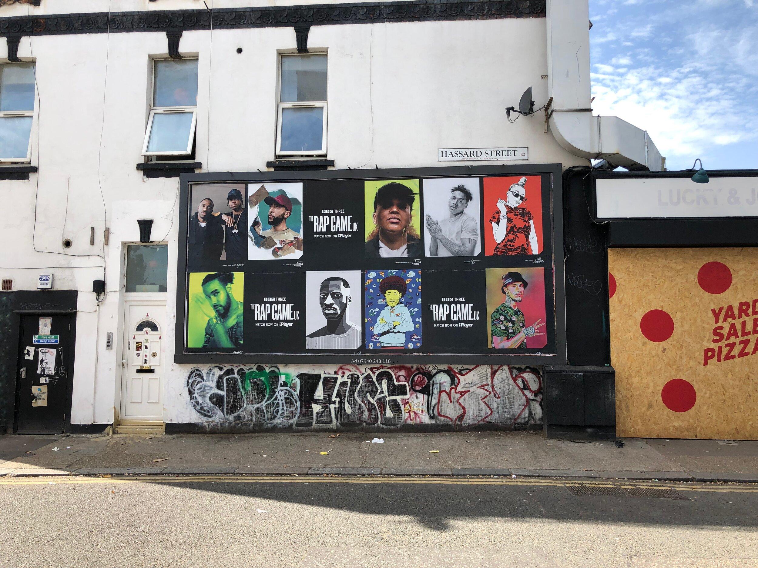 Elena Gumeniuk for BBC The Rap Game UK - Advertising on Hassard Street, Hackney, London.