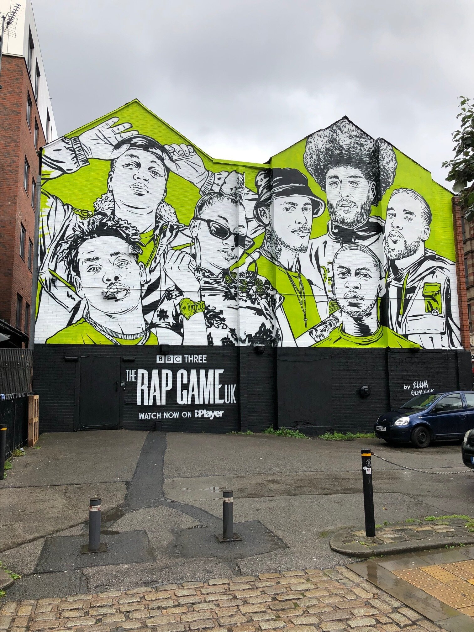 Elena Gumeniuk for BBC The Rap Game UK - Painted wall mural in Manchester, UK.