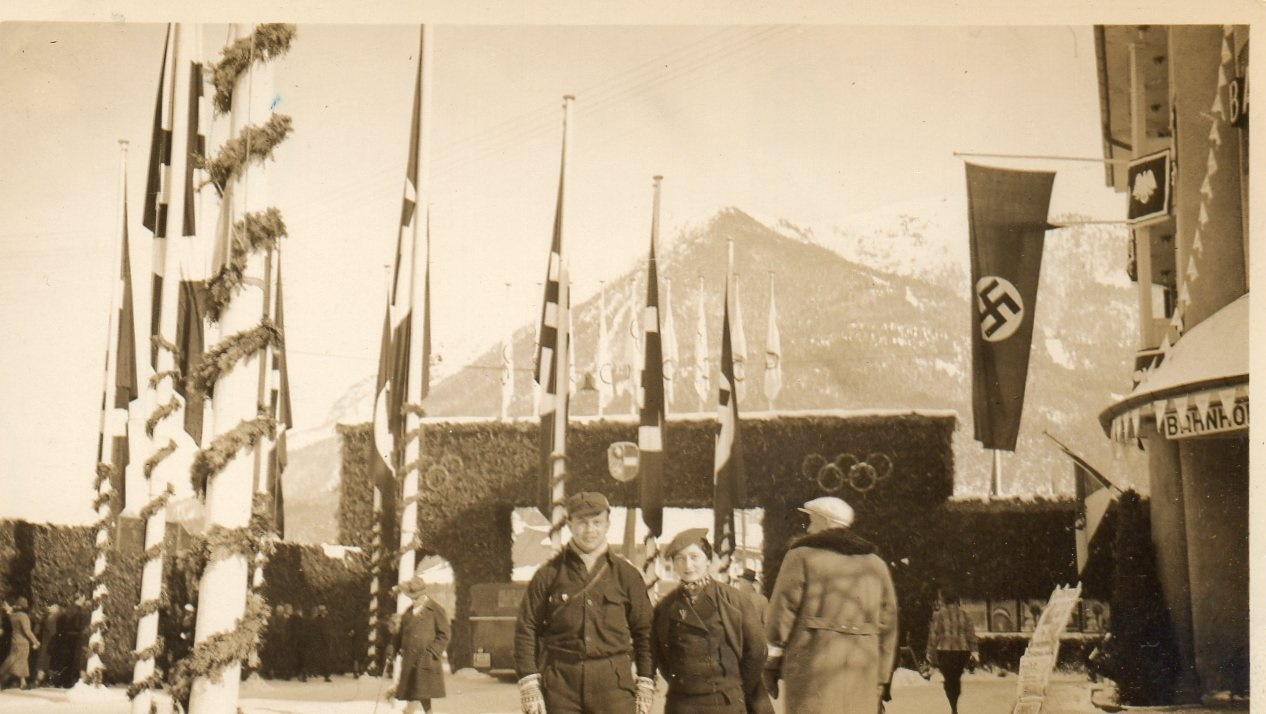 Hala and Ignas Krakowiak in front of 1936 Winter Olympic Venue.