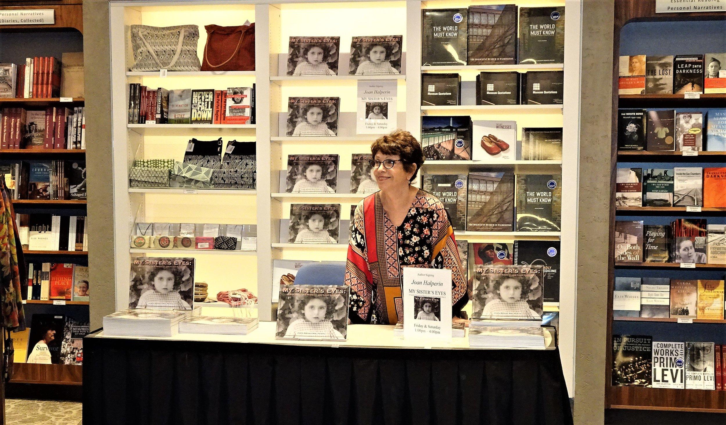 Joan Arnay Halperin at author's table.