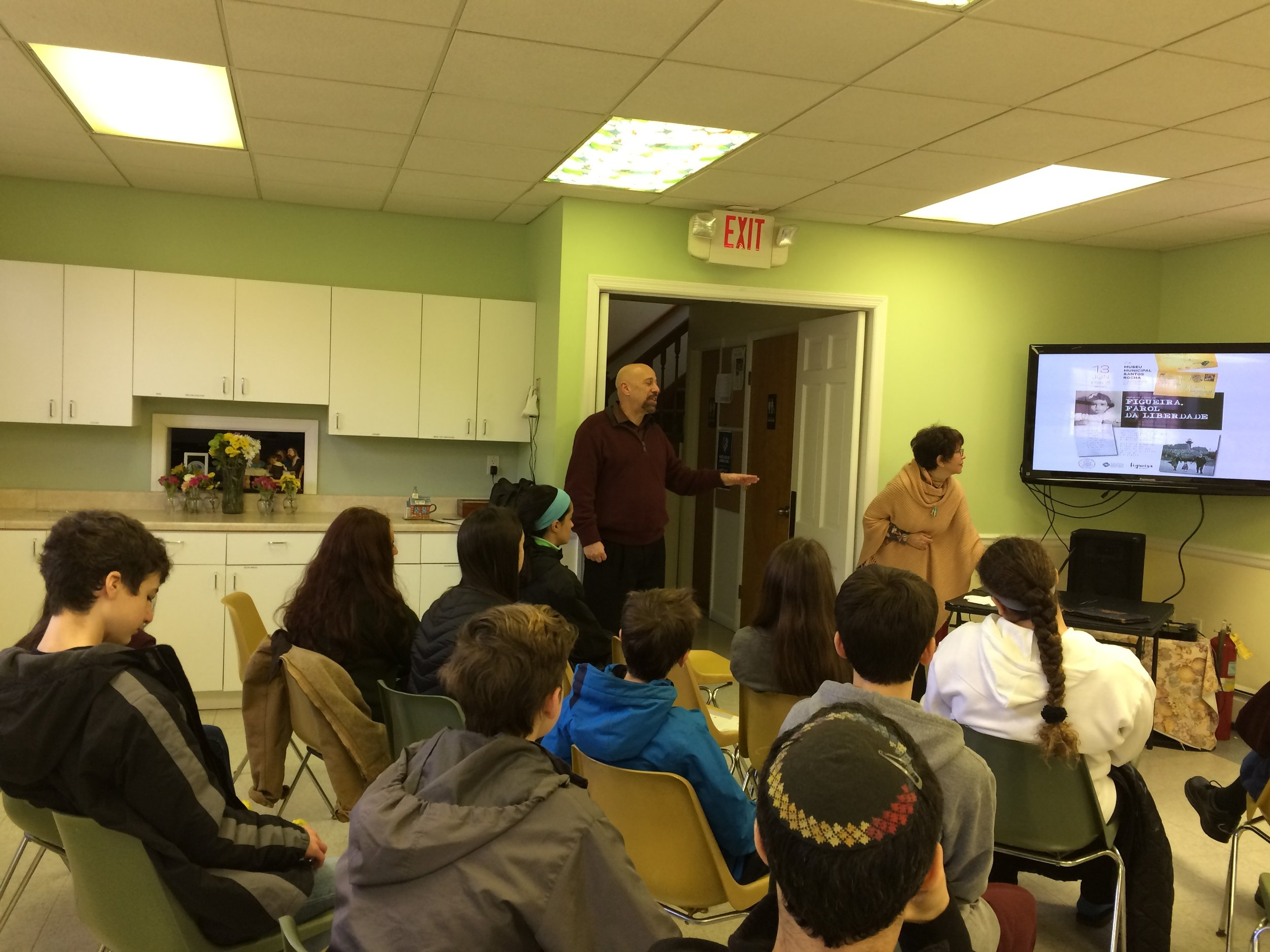 Joan's presentation of   My Sister's Eyes   , the story of how her family was rescued by Aristides de Sousa Mendes, to the Confirmation class of  Congregation Adas Emuno  was one such occaision.  Rabbi Barry Schwartz, the religious leader of the congregation, is a good teacher. This was evident by the thoughtful follow-up questions he posed to Joan and the class.   Rabbi Schwartz  is also a prolific writer as well as director of the Jewish Publication Society in Philadelphia, the nation's oldest and best known Jewish publisher. The society has just published Dr. Mordecai Paldiel's latest book,  Saving One's Own  , which recounts the stories of Jewish Resucers during the Holocaust.   Thank you Rabbi for helping to share the story of   My Sister's Eyes