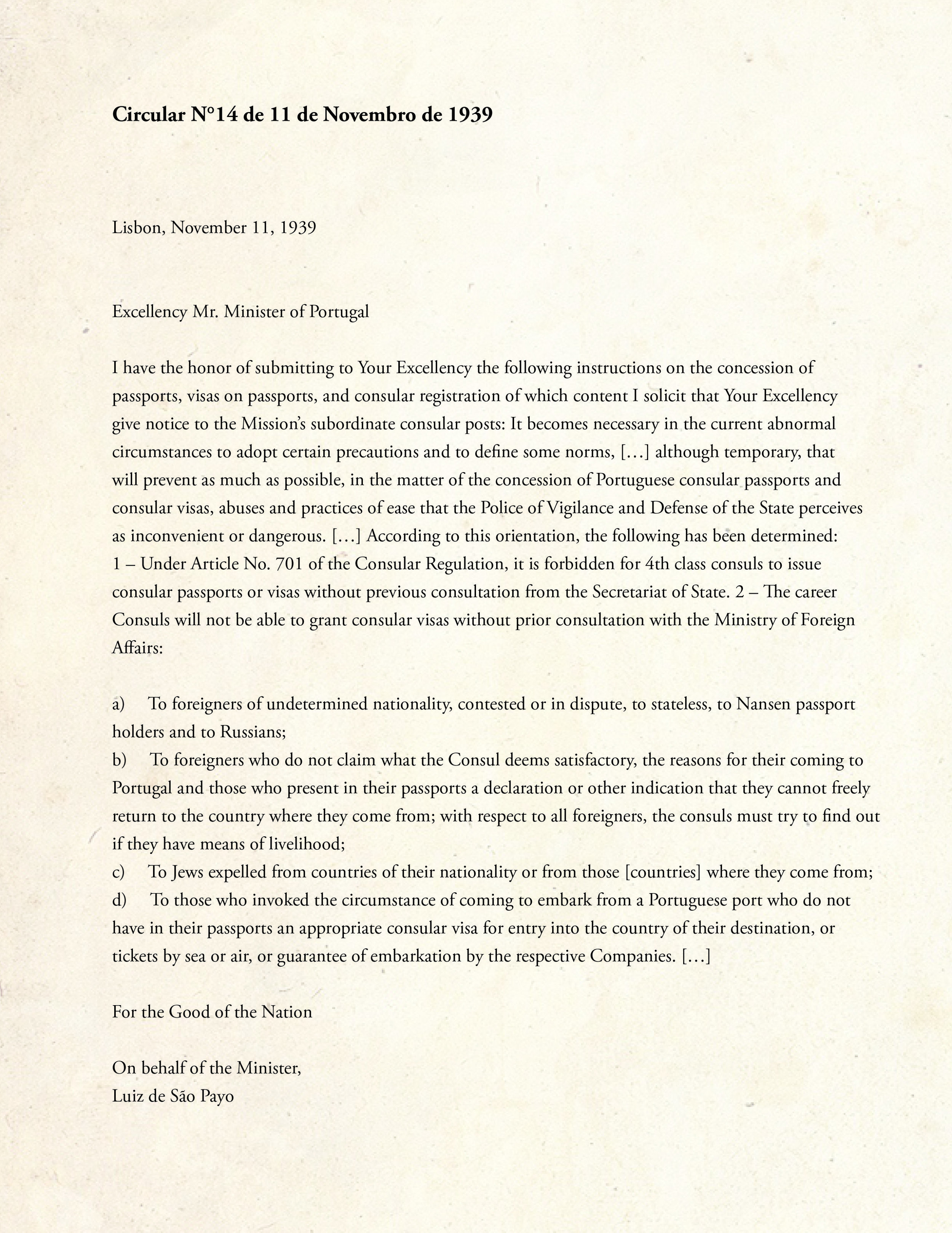 Document 1. Circular 14