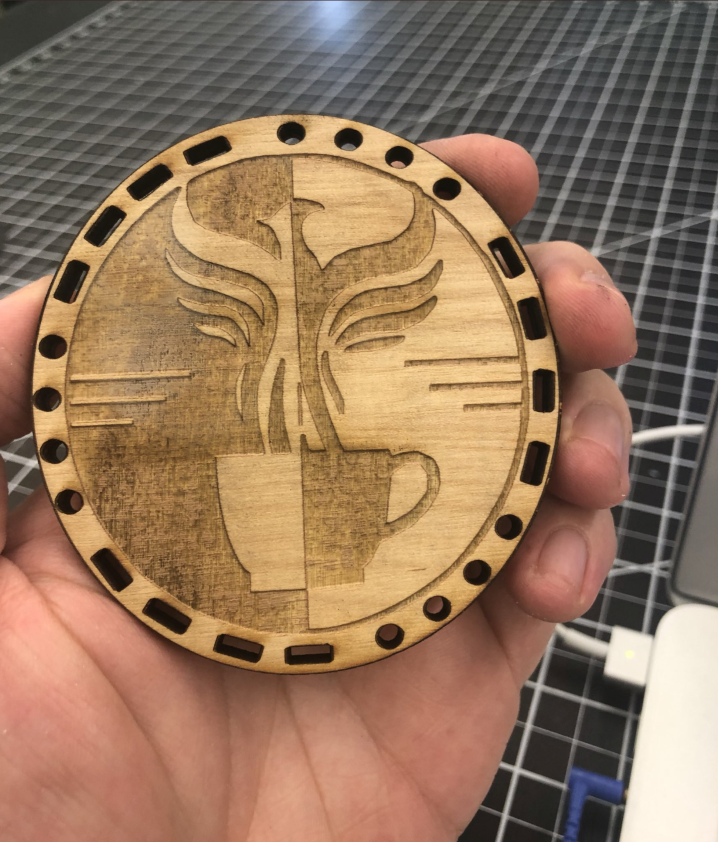 Laser cutting of the Amelia Logo by @thponders