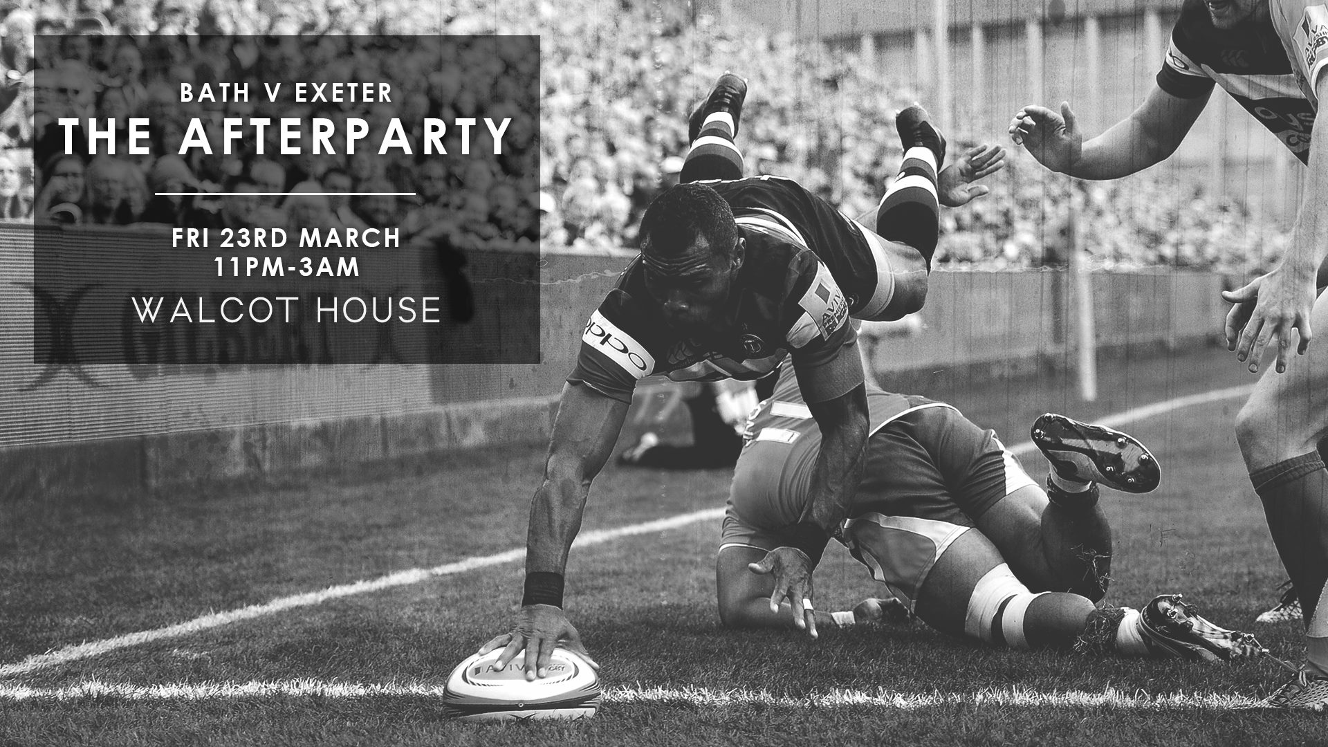 We are excited to be hosting the exclusive afterparty for Bath v Exeter!  Taking over the back room will be guest DJs Nick Auterac and Cooper Vuna!  As well as being pro rugby players both of them have been honing their DJ skills and are ready to unleash their tunes after being unleashed against Exeter Chiefs!  Nick will be playing all your favourite commercial house tunes whilst Cooper will be spinning all of the best of RnB - this is not to be missed.  For Table Reservations: www.walcothousebath.com  or call 01225 314938.  Event: https://www.facebook.com/events/986519931500504/