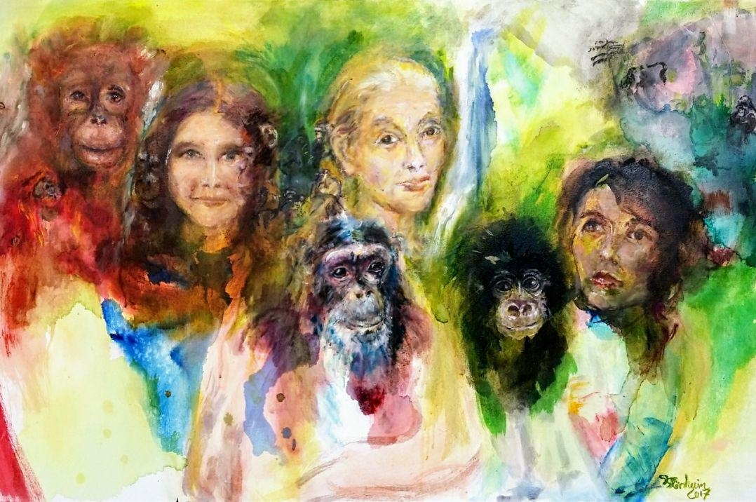 """Trimates - Much of Daniela's artwork is inspired by environmental and social causes.In this project, she depicts the """"Trimates"""", three trailblazing women who redefined man through the study of other great apes: Jane Goodall and chimpanzees, Dian Fossey and gorillas, and Birute Galdikas and orangutans.See more here."""