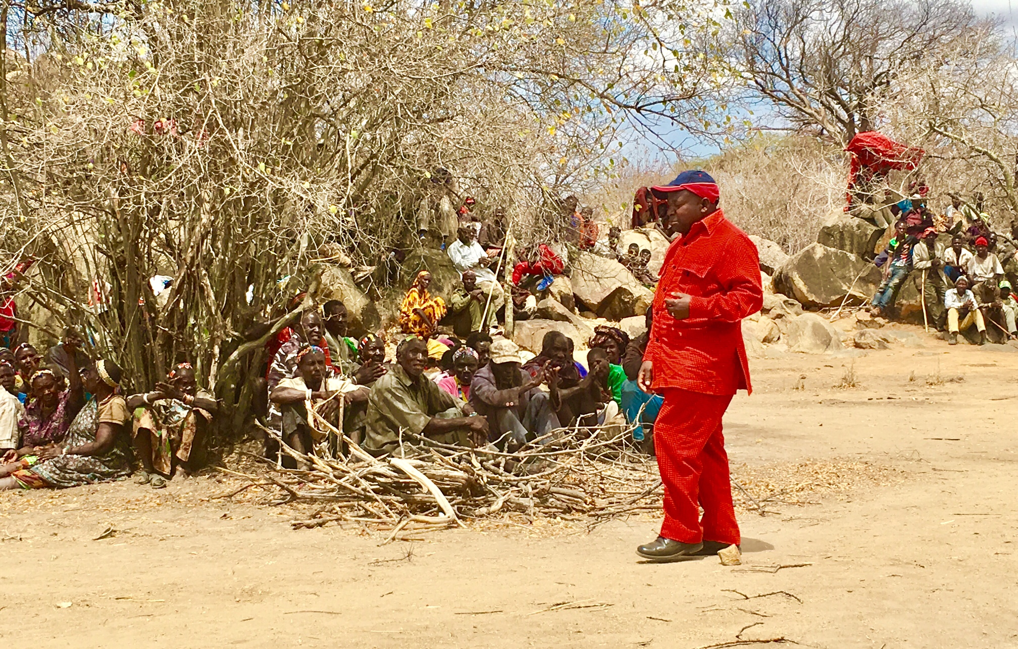 The District Comissioner speaking with the Hadza