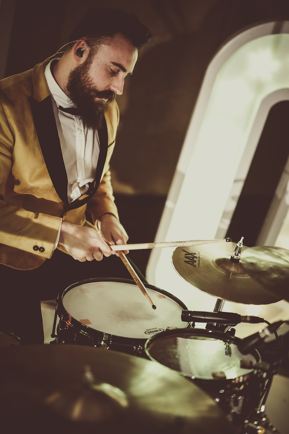 drummer ben performing with 24K funky wedding band south wales