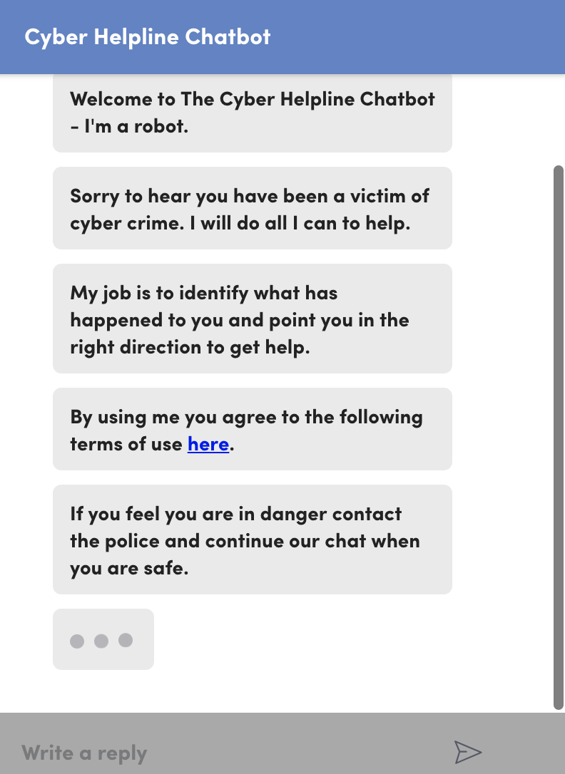 The Cyber Helpline Chatbot
