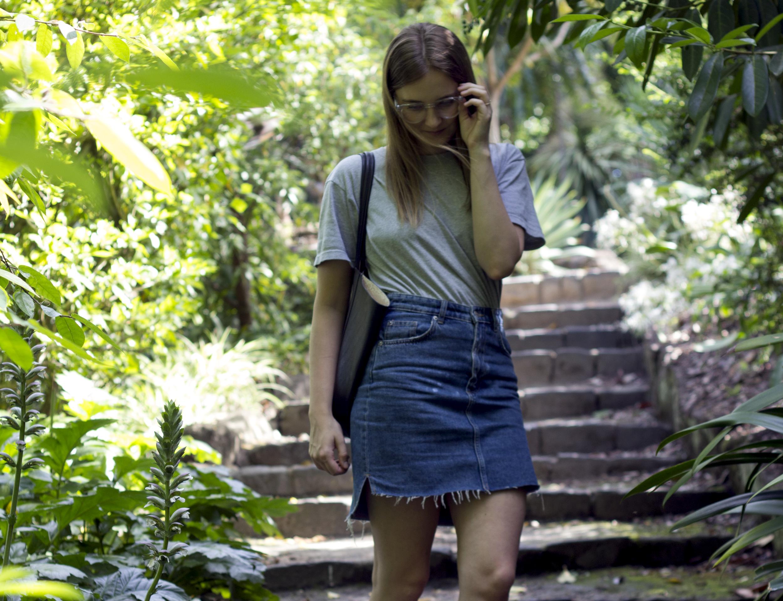Step Hem Denim Skirt Fashion | Fox and Mint