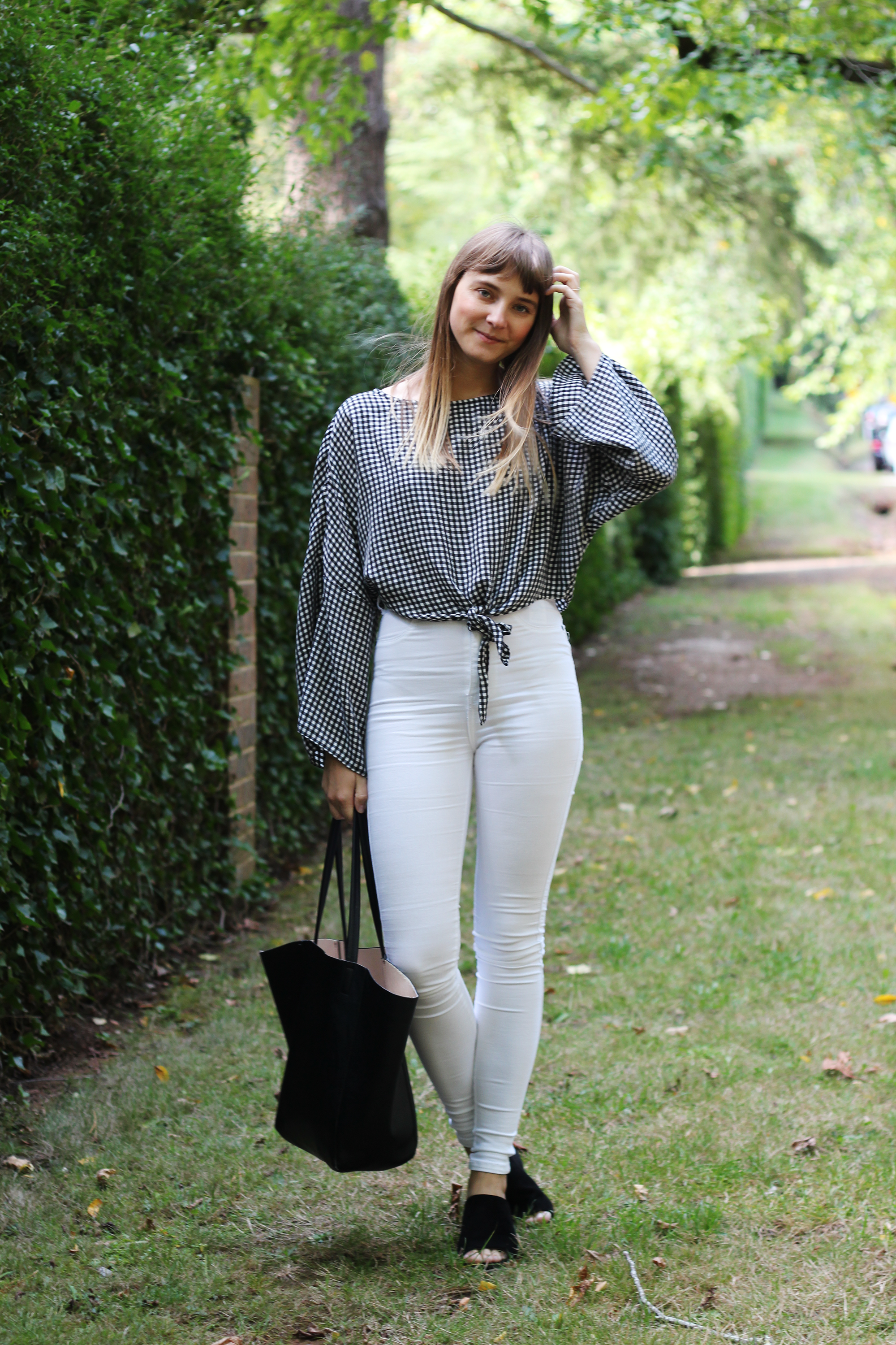 Gingham and White Jeans