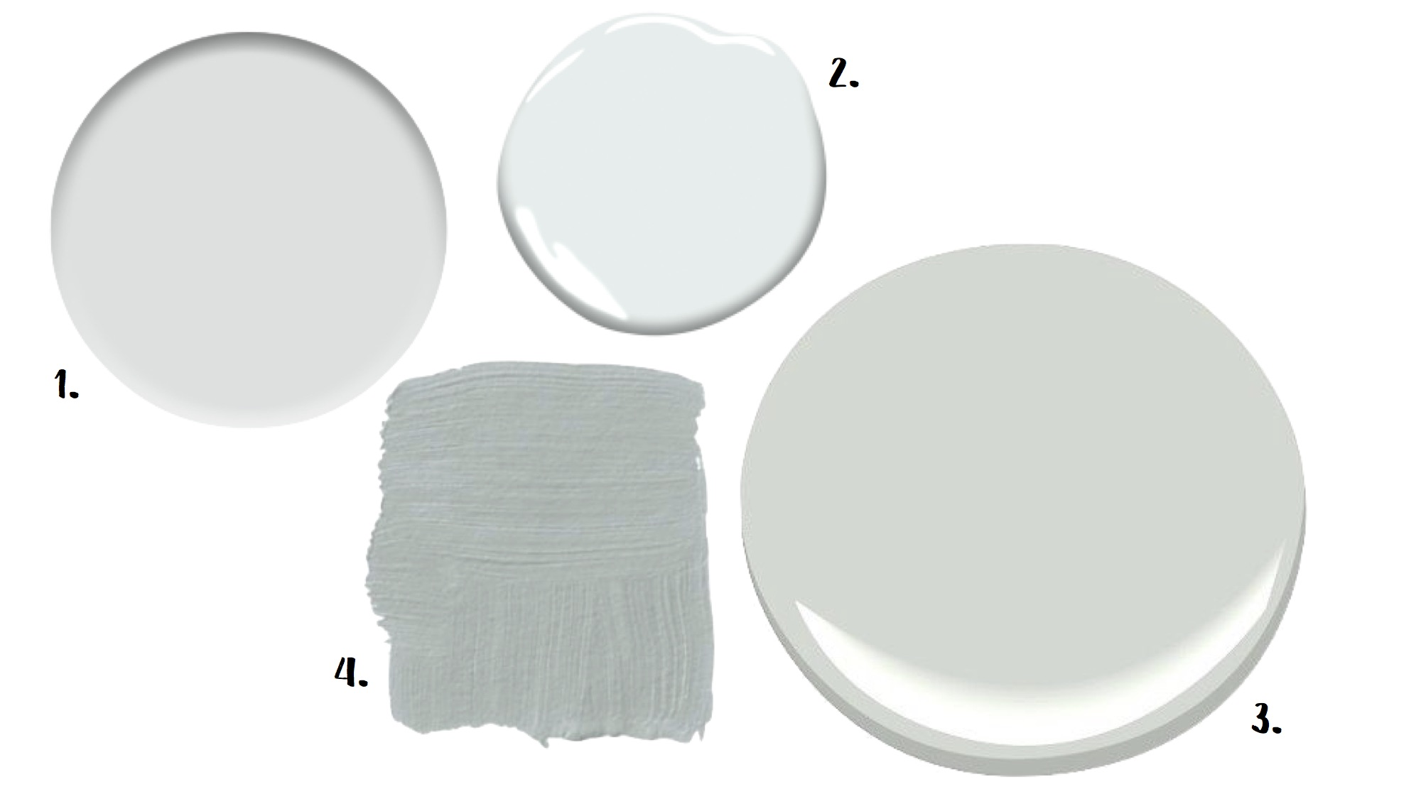 1. Quick Silver (Sherwin Williams) 2. Patriotic Blue (Benjamin Moore) 3. Wickham Gray (Benjamin Moore 4. Light Blue (Farrow and Ball)