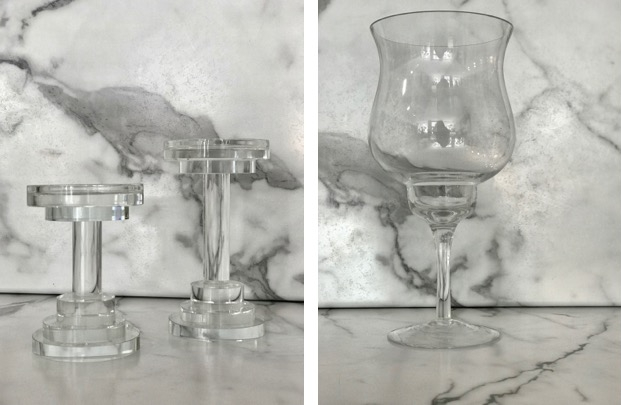 Crystal Pillars - (small) $56.95, (medium) $63.95. Glass Jar - $16.95