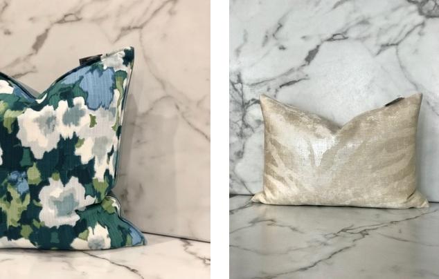 Indigo Floral Pillow - $68.95. Champagne Pillow - $68.95