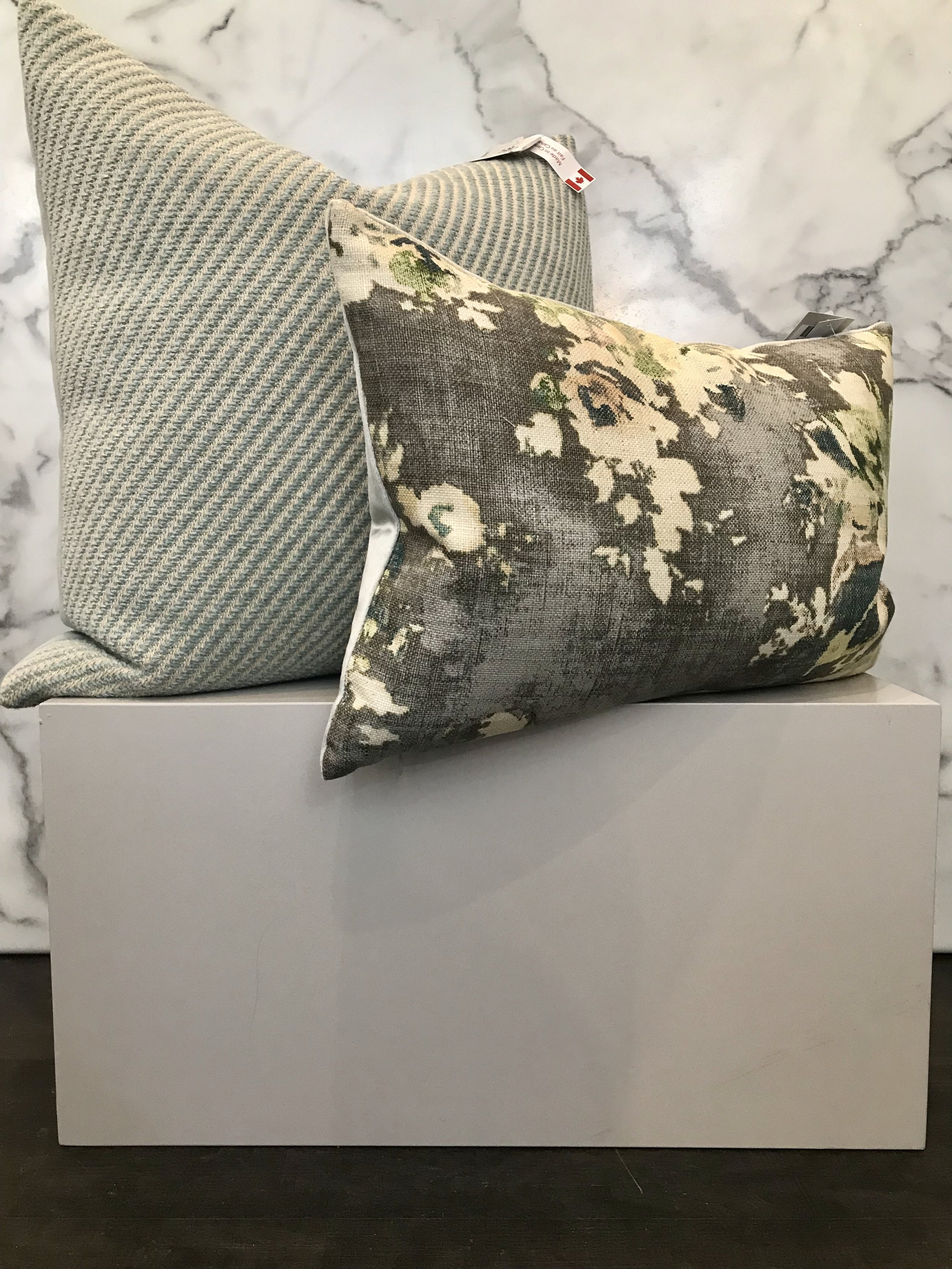 - Green is the perfect colour to add some life and energy to your space. We love subtle greens that lean more towards neutrals in a space and these pillows are the perfect example of this. The stripes and floral balance each other out perfectly.