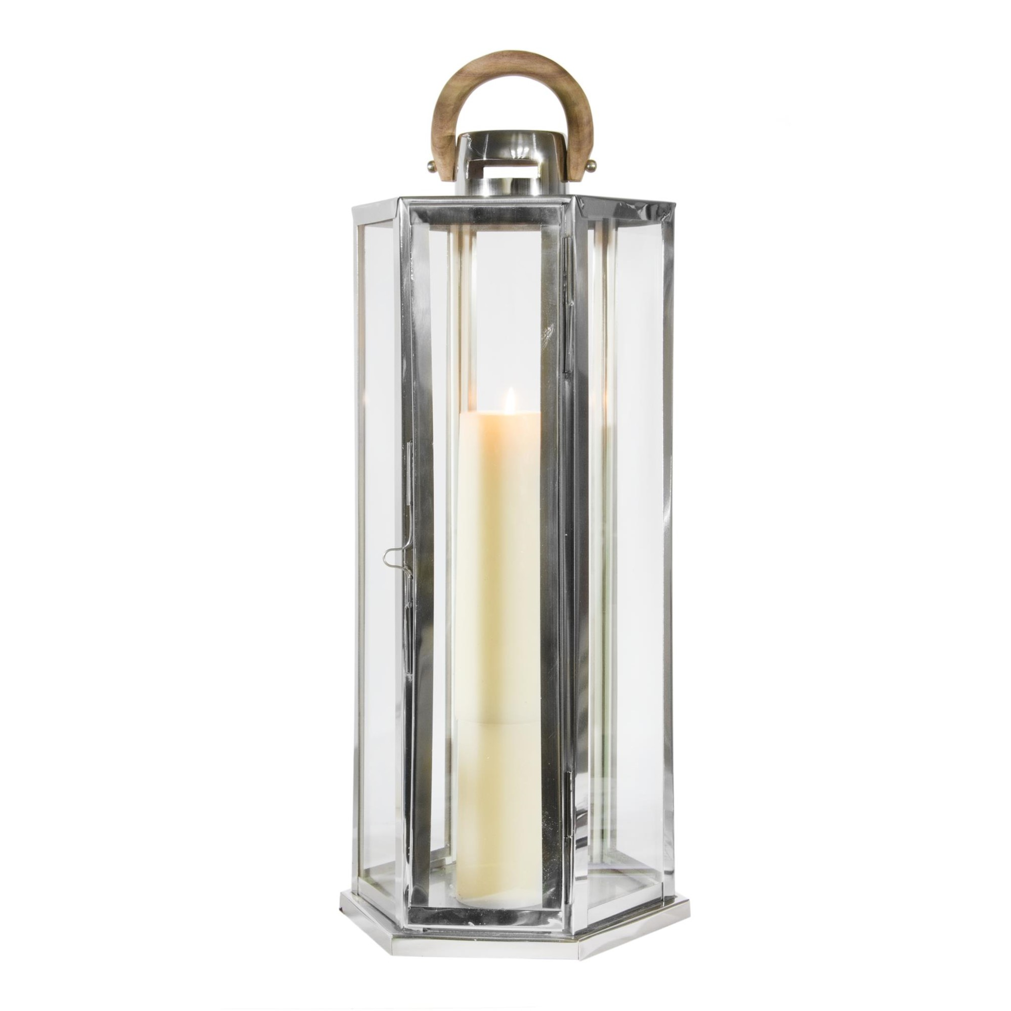Stainless Steel & Glass Lantern with Wood Handle by S&C, Amanda's House Of Elegance  ($178.95)