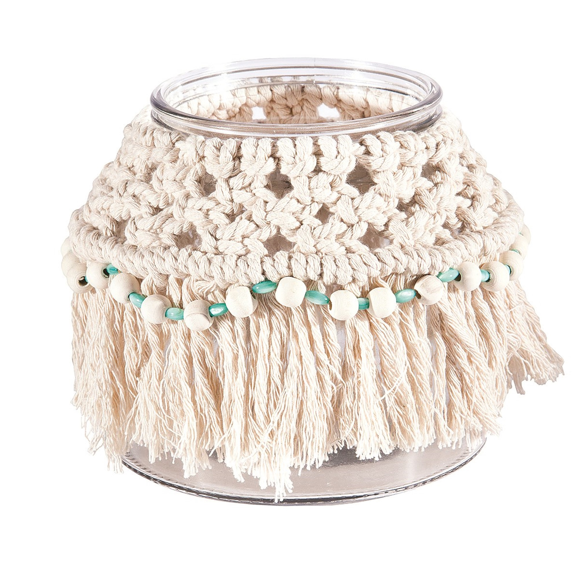 Glass Hurricane with Natural Macrame Cover, Amanda's House Of Elegance  ($28.95)
