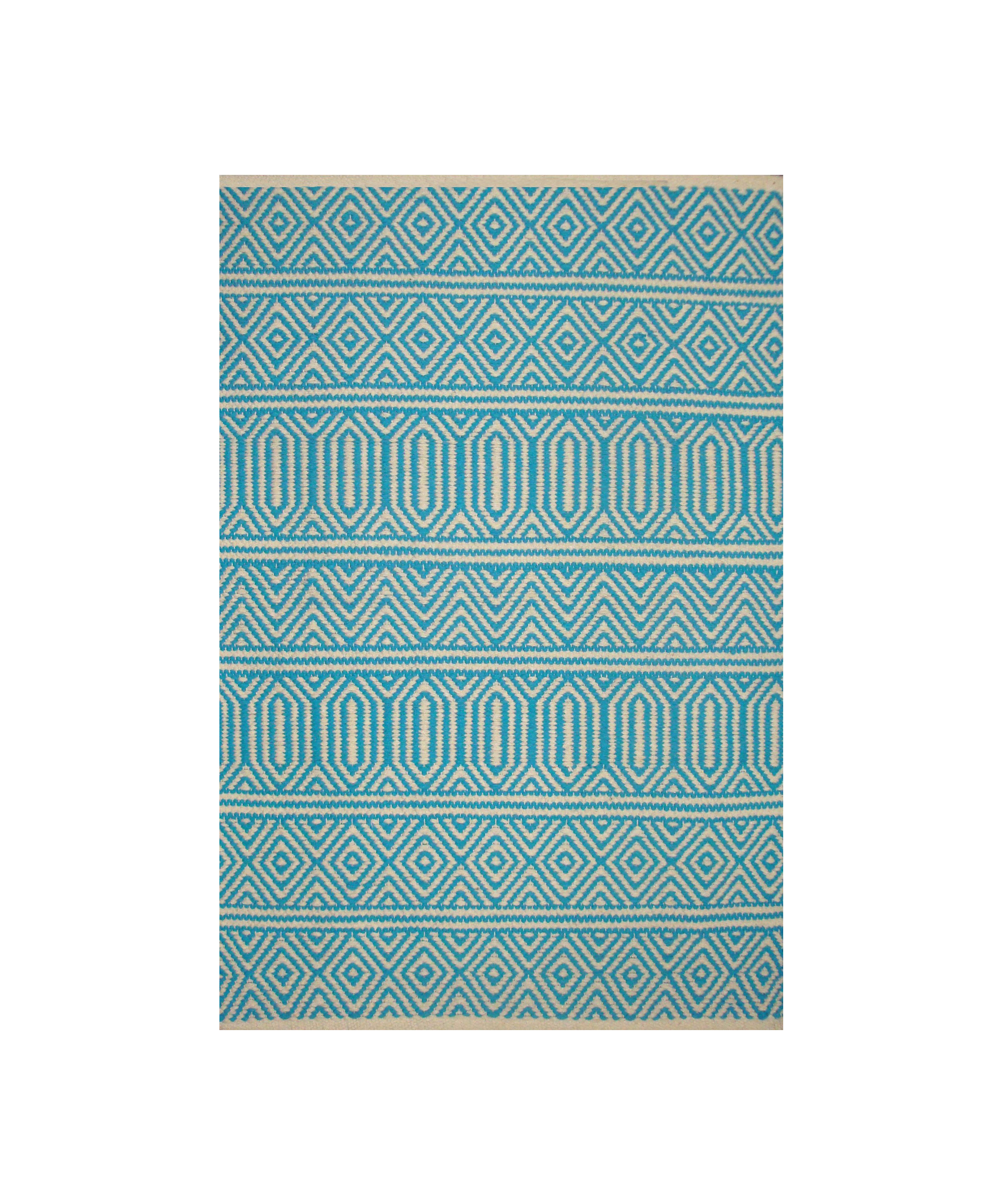 Dhurrie Geo Aqua (Available Sizes: 3x5, 4x6, 5x8, 7x9), Amanda's House Of Elegance  ($68.95 – $286.95)