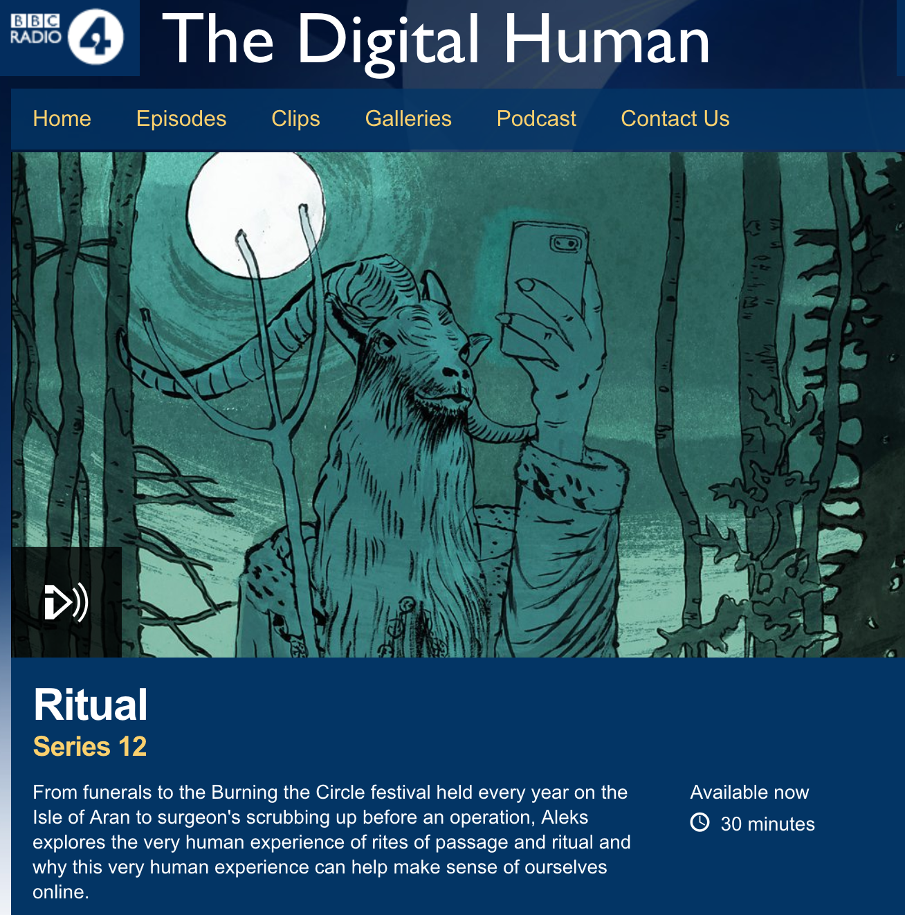 interview on radio 4 - talking about ritual on the digital human
