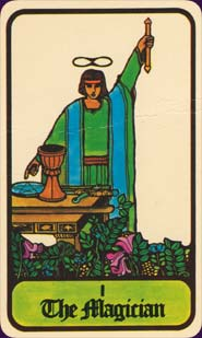 """The Magician — he is standing tall and acting out the Hermetic axiom, """"As above, so below."""""""