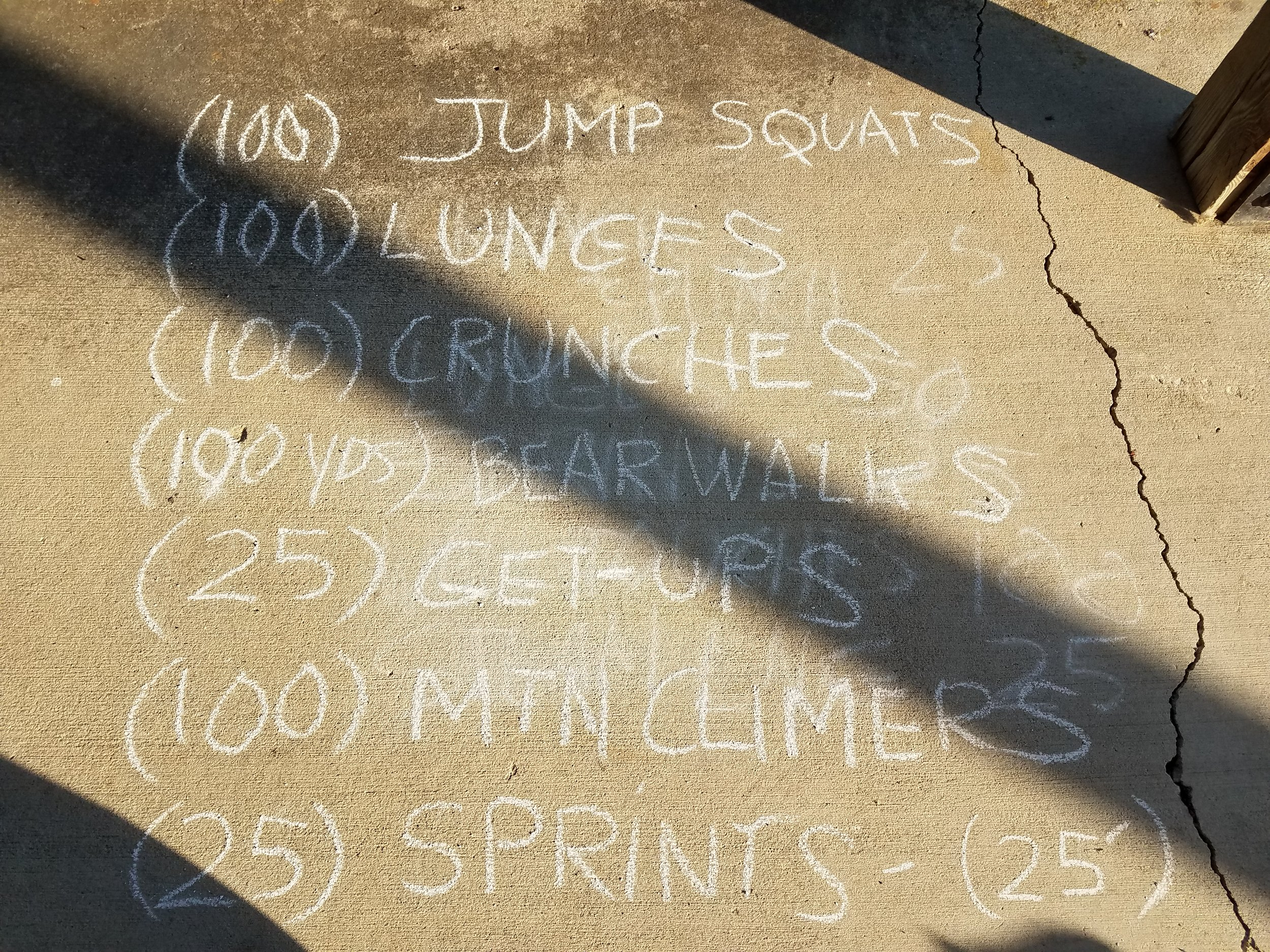 This month's focuses are Basic Self-Defense and The Book.  Our new constitutional:   Jump Squats (100) Lunges (100) Crunches (100) Bear Walk (100 yds) Get-ups (25) Mountain Cimbers (100) Sprints (50 x 12')
