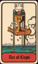 This is Ace of Cups from the Hoi Polloi Tarot.  A the moment, the Chalice is the spiritual symbol of the month at Cabal Fang HQ here in Richmond.