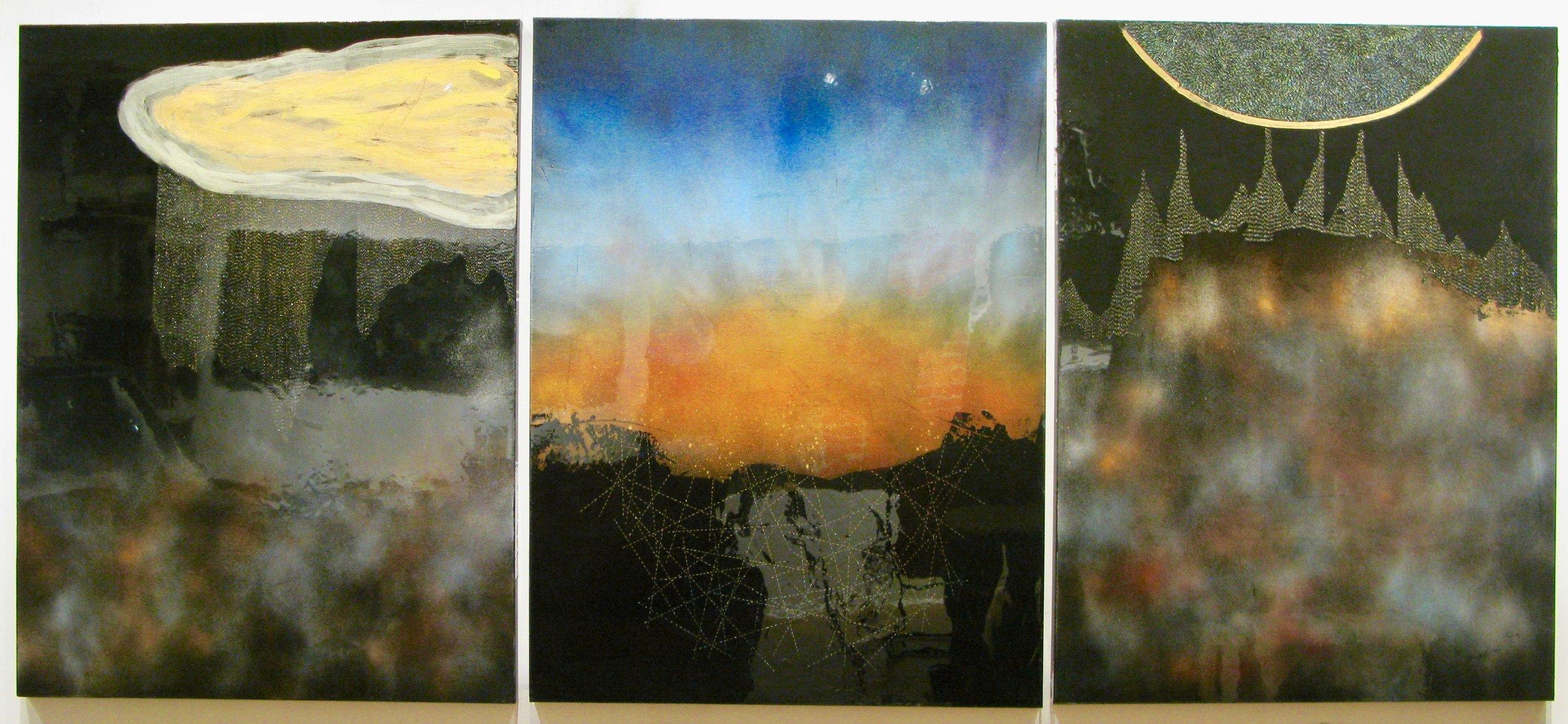 SARDONYX, 2016, mixed mediums on canvas, Triptycvh: Total Dim: 48%22 x 108%22 (121.9 x 274.2  cm).jpg