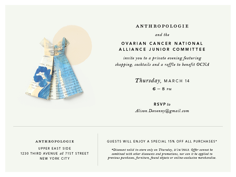 March 14, 2013 . Join us for a charitable event at Anthropology to benefit the Ovarian Cancer National Alliance. art925 is donating a new piece available in the auction.