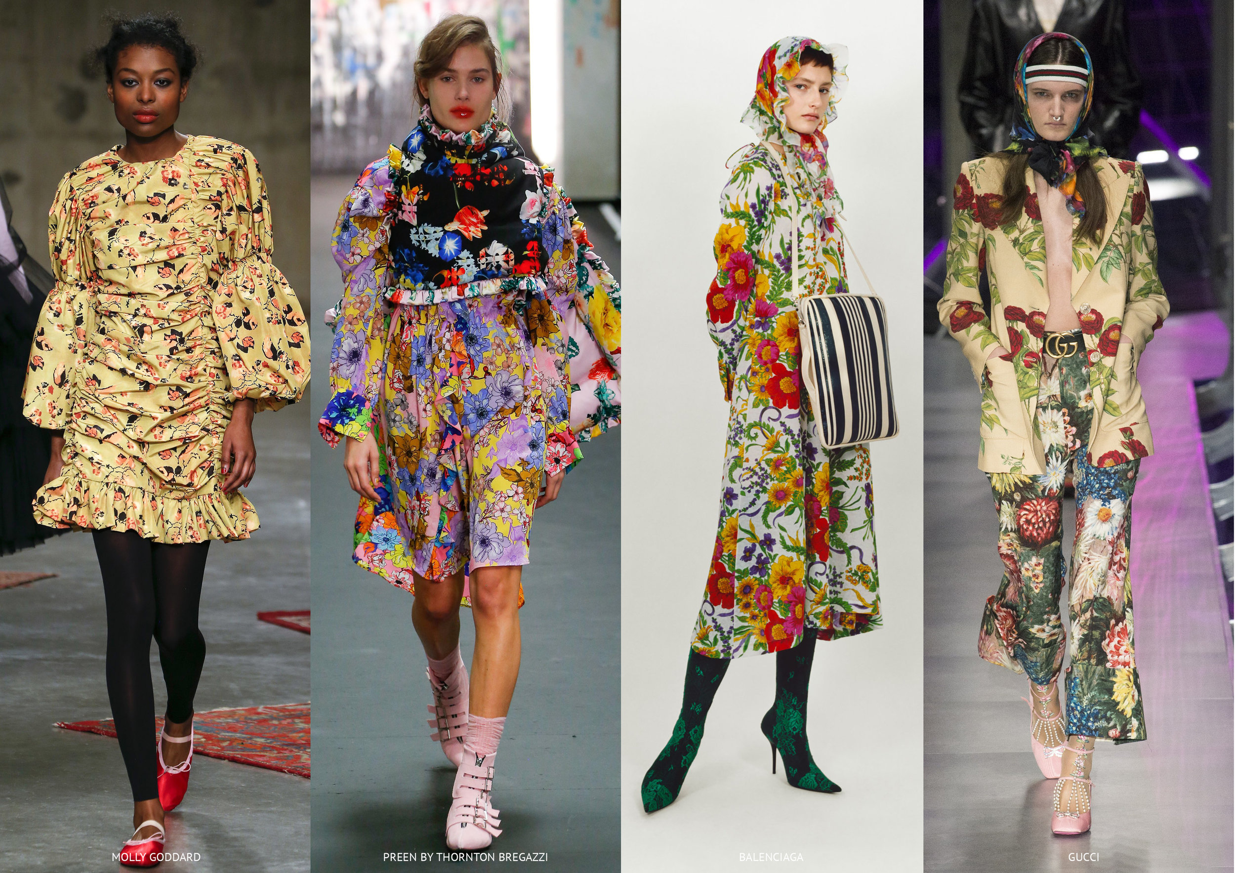 Retro Blooms - Molly Goddard, Preen by Thornton Bregazzi, Balenciaga and Gucci
