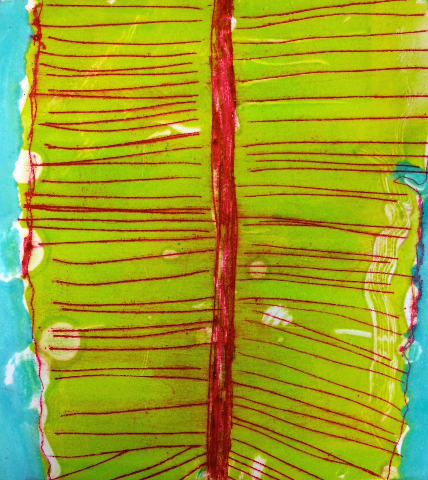 Frond  - Drypoint/monotype, 12x8, 2016