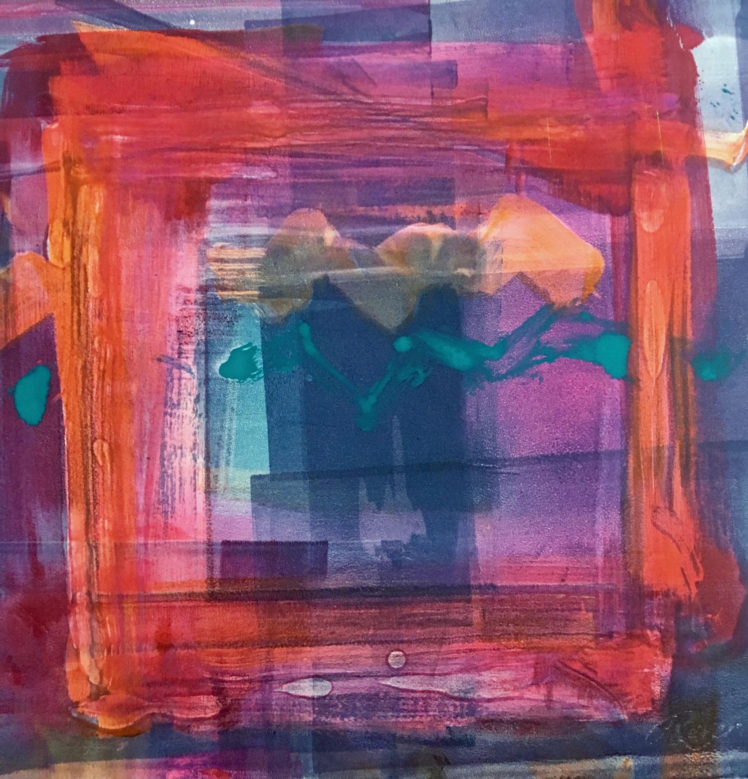 "Homage to Hodgkin  - Monotype, Viscosity, Akua intaglio ink, Pastel, 18""x18"""