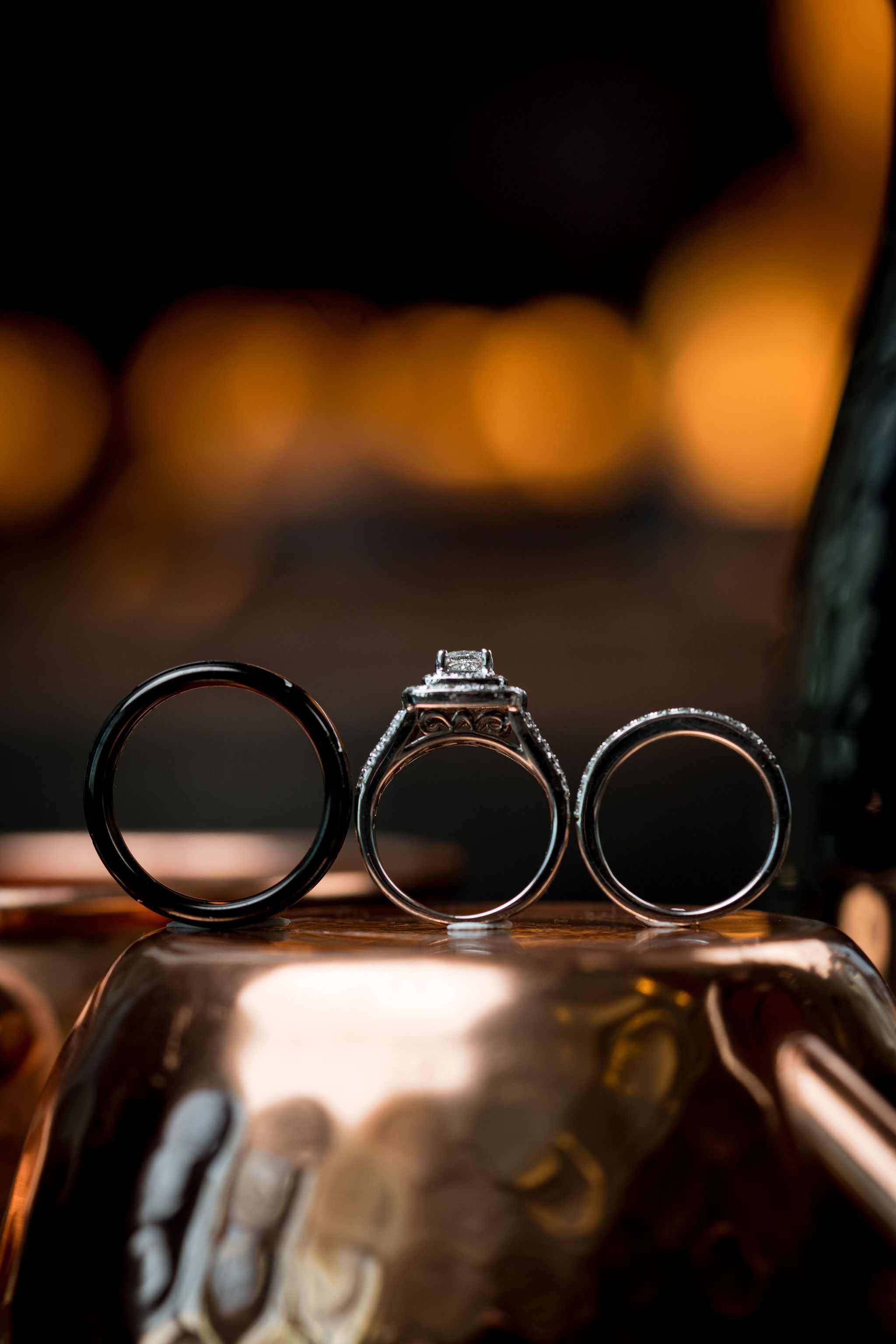 Wedding rings in Indiana at Sand Creek Country Club.