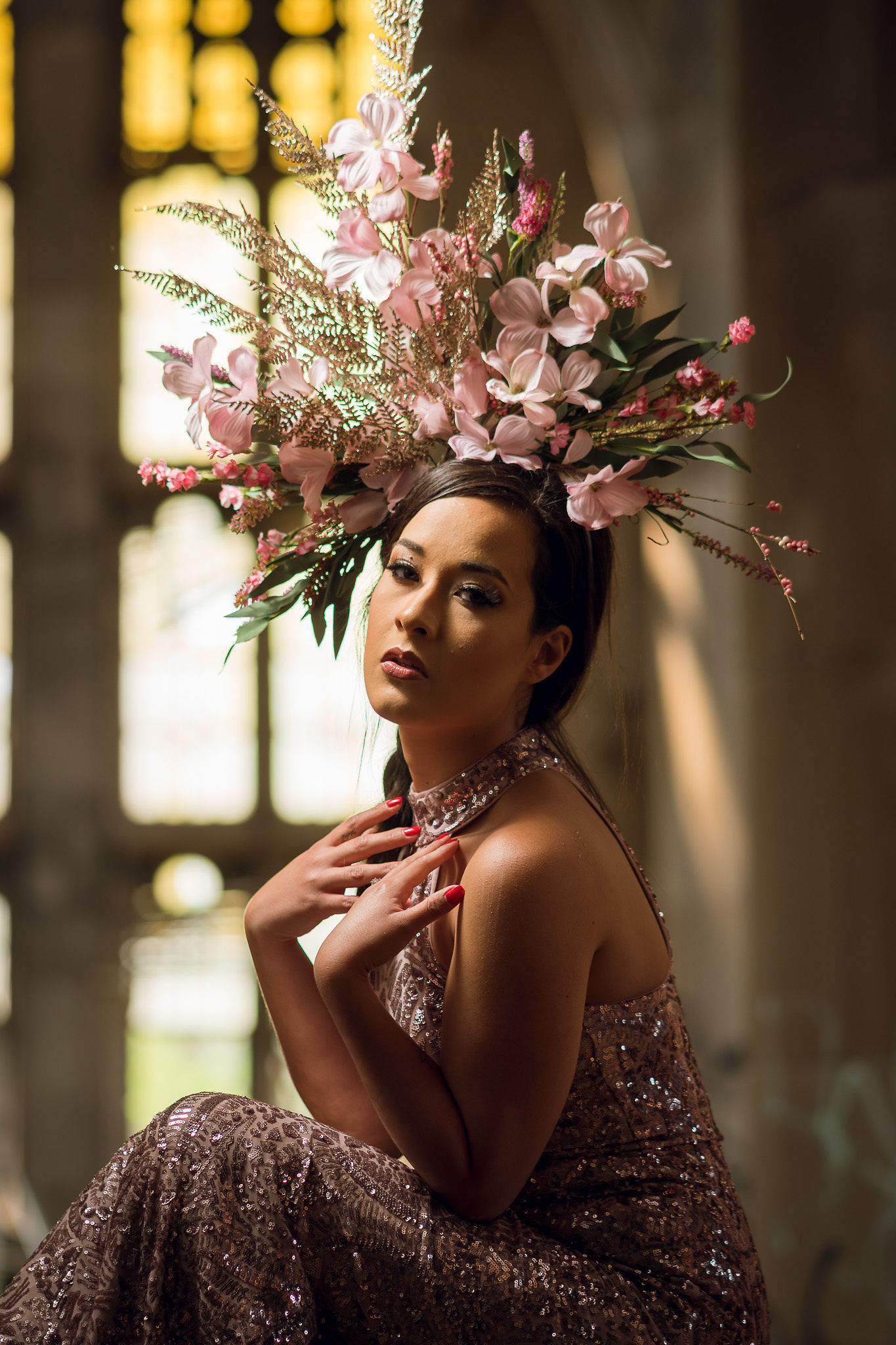Chicago Model wearing headpiece in abandoned church
