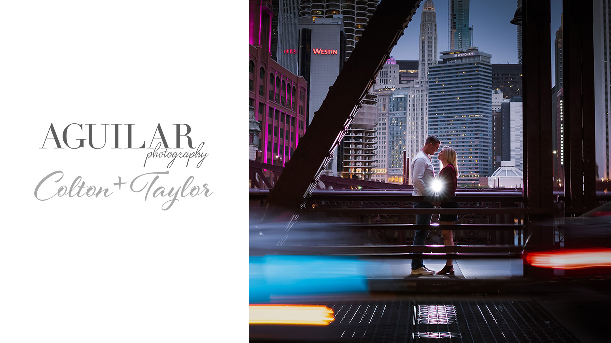Colton & Taylor's Downtown Chicago Riverwalk Engagement 1