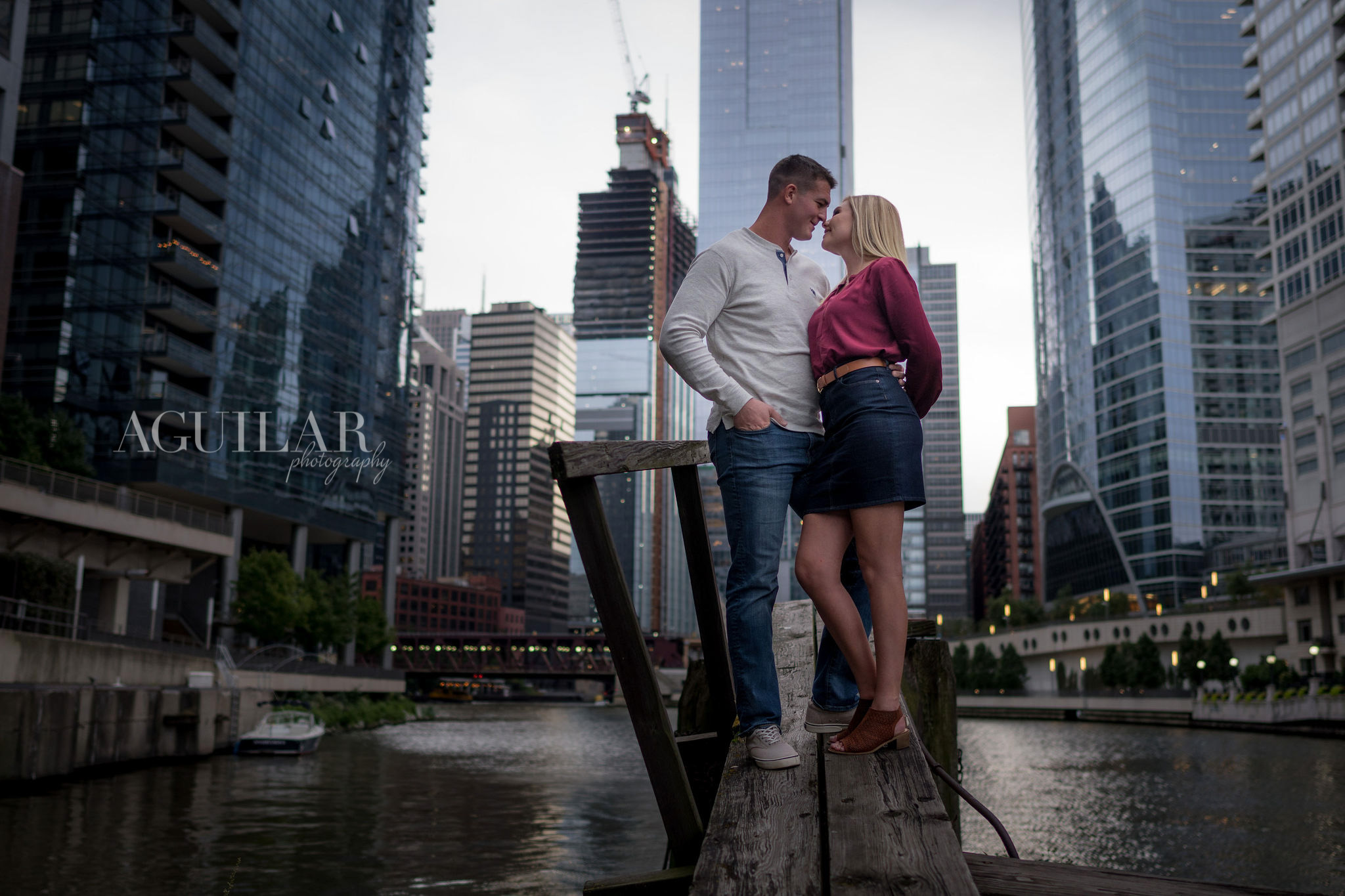 Colton & Taylor's Downtown Chicago Riverwalk Engagement 2