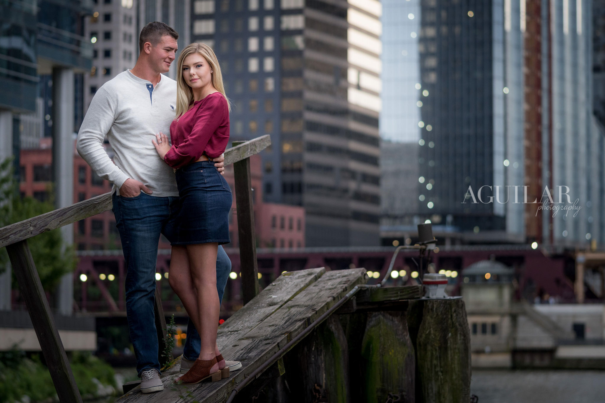 Colton & Taylor's Downtown Chicago Riverwalk Engagement 3
