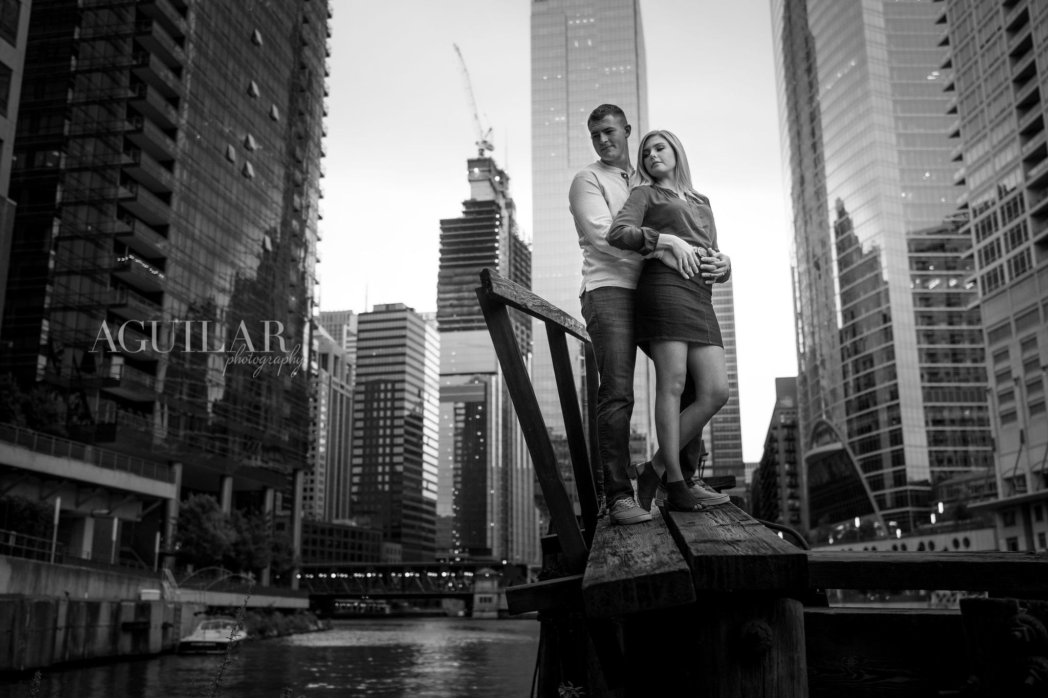 Colton & Taylor's Downtown Chicago Riverwalk Engagement 4