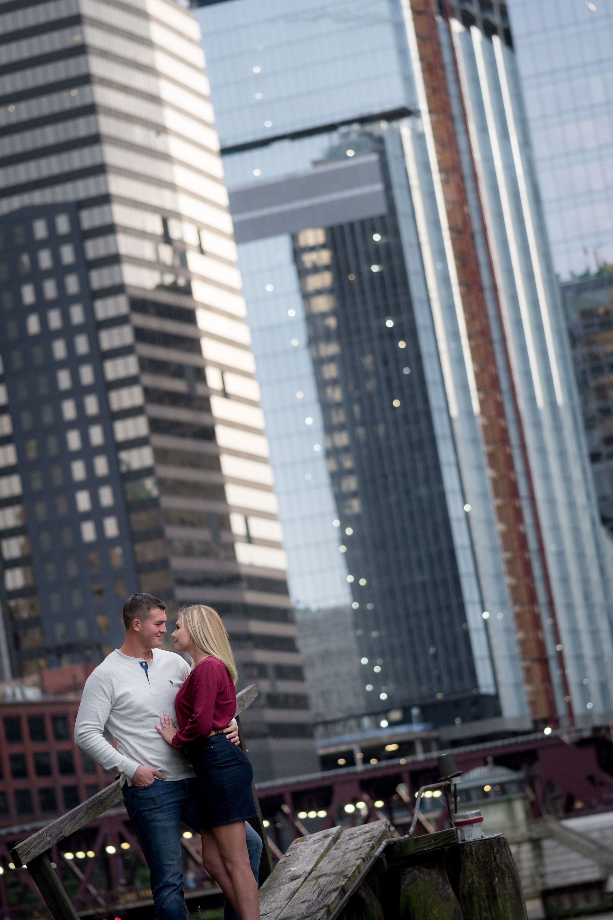 Colton & Taylor's Downtown Chicago Riverwalk Engagement 5