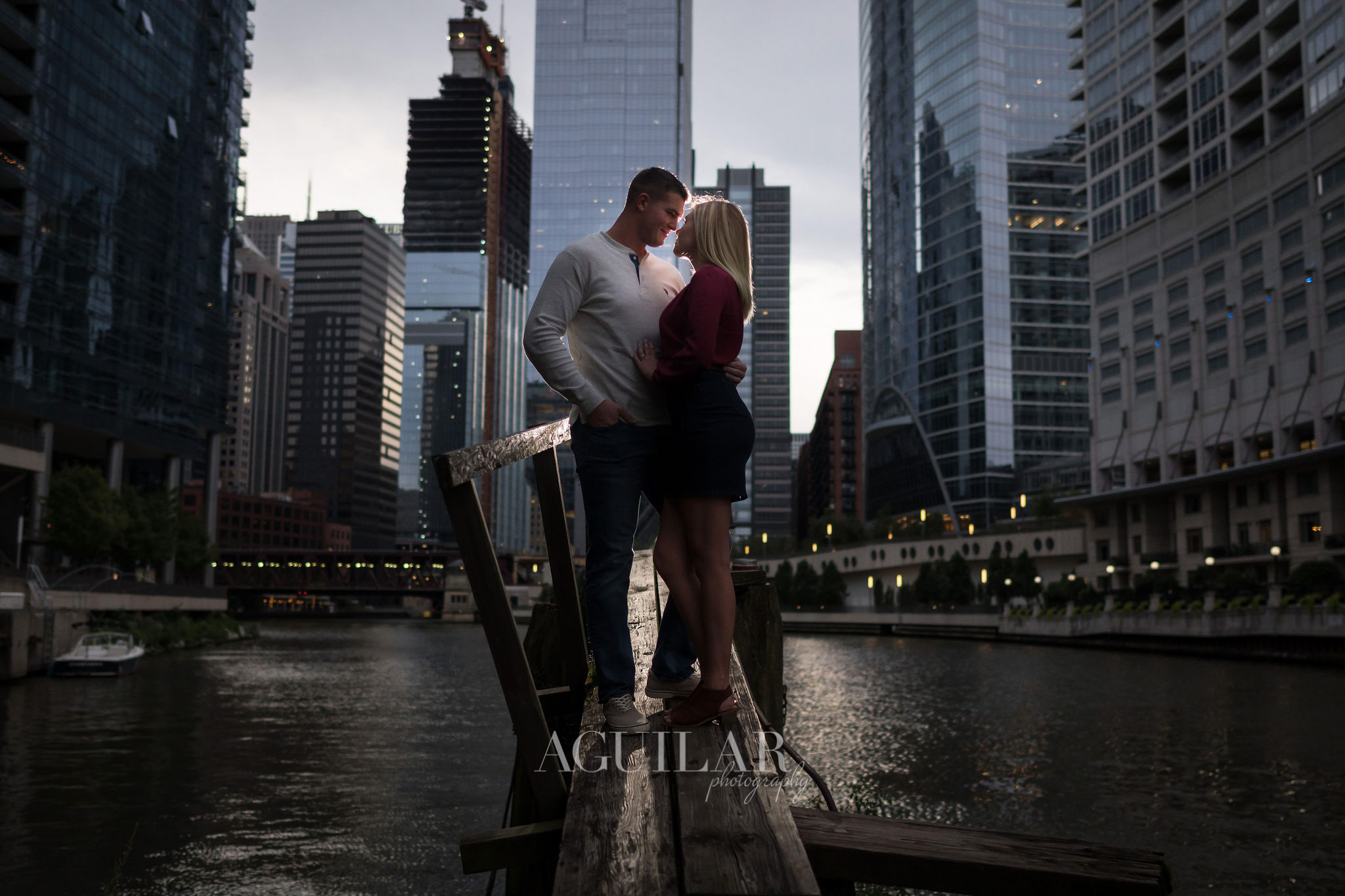 Colton & Taylor's Downtown Chicago Riverwalk Engagement 6