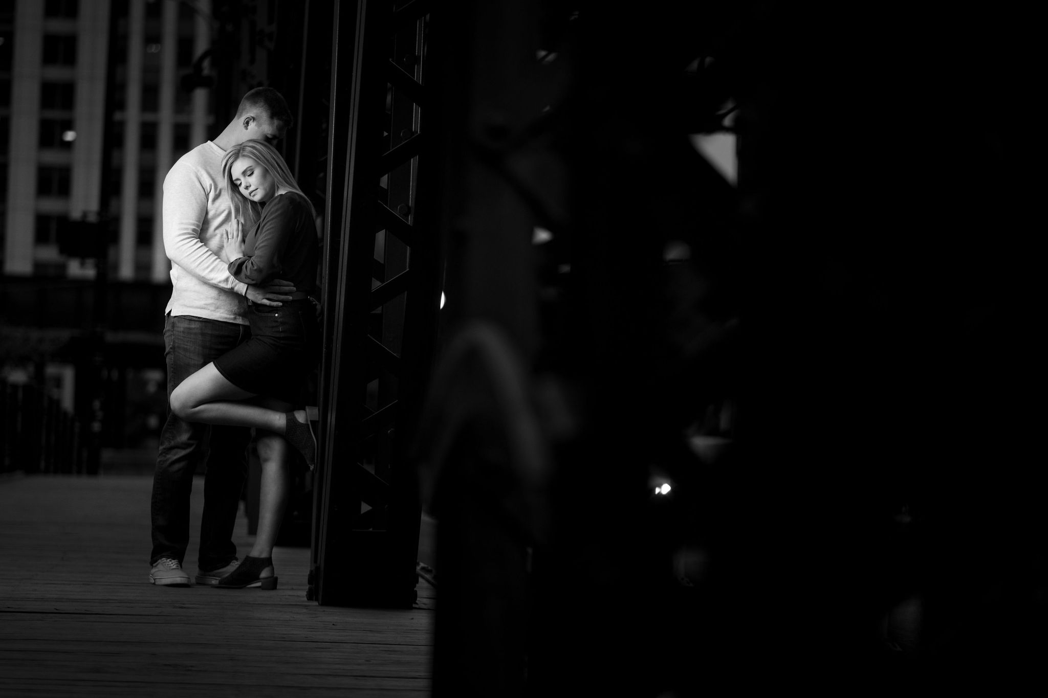 Colton & Taylor's Downtown Chicago Riverwalk Engagement 9
