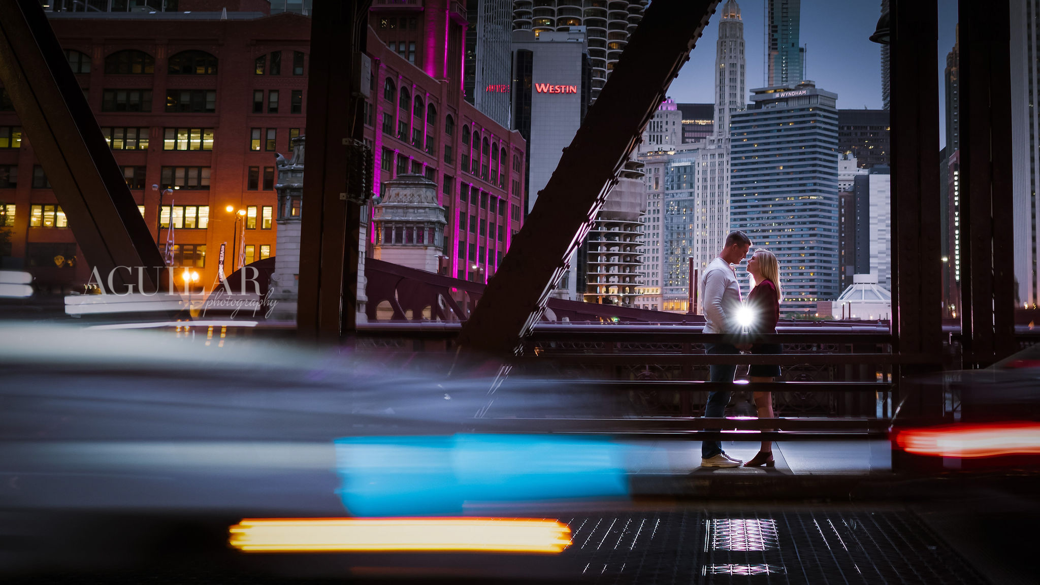 Colton & Taylor's Downtown Chicago Riverwalk Engagement 11